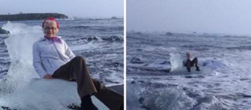 Idosa senta em Iceberg para tirar foto e é levada pelo mar (Foto: Reprodução Youtube)