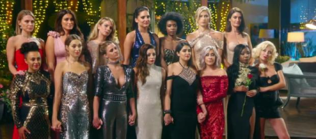 15 single ladies prepare for the first Rose Ceremony of the series (Image credit: The Bachelor UK/Channel 5)