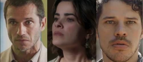 Stela, Aranha e Junior em O Sétimo Guardião. (Foto: Reprodução/TV Globo)