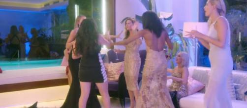 The girls take the fight for love literally as tensions build in the villa (Image credit: The Bachelor UK/Channel 5)