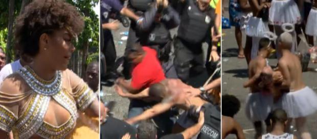 Bloco Fervo da Lud presencia cenas de guerra no Rio (Reprodução TV Globo)