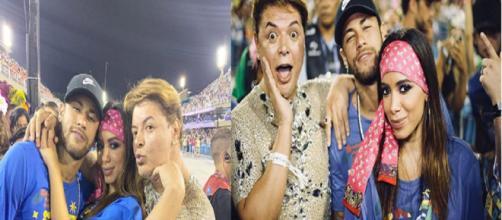 Anitta, David Brazil e Neymar na Sapucaí (Montagem: Instagram)