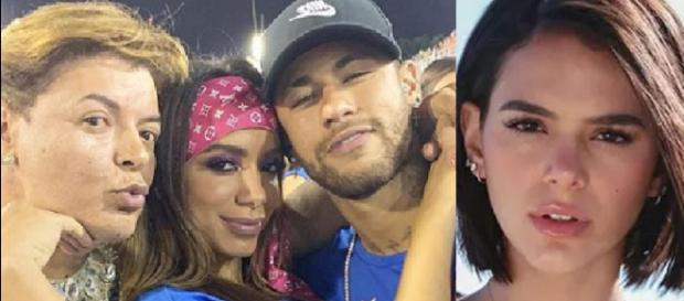 Neymar, Anitta e Bruna Marquezine no Carnaval. (Foto: Reprodução/Instagam)