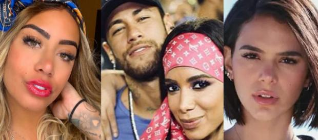 Rafaella, Bruna e Neymar em mais um dia de polêmicas. (Foto: Reprodução/Instagram)