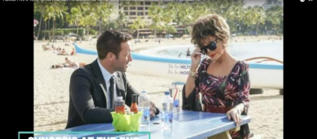 Steve (Alex O'Loughlin) takes Joan Collins' character for a very unexpected lunch on Hawaii Five-O. [Image source:TViQ-YouTube]