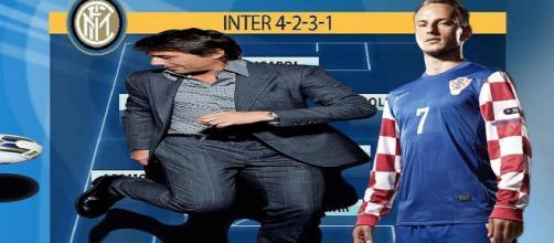Sarebbe pronta a nascere l'inter di Antonio Conte: per il centrocampo si punta a Rakitic (fotomontaggio- Armando Areniello).