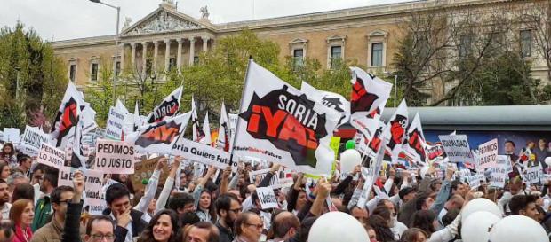 Madrid, manifestazione contro lo svuotamento delle province spagnole.