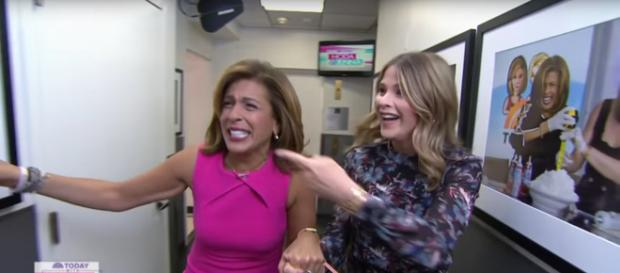 Jenna Bush Hager (R) and Hoda Kotb share laughs before an emotional first Monday. [Image source:TODAY-YouTube]