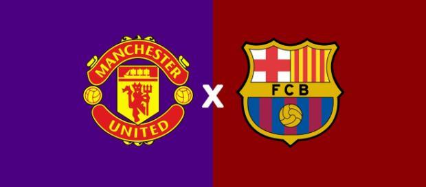 Manchester United x Barcelona ao vivo. (Montagem/ Diogo Marcondes)