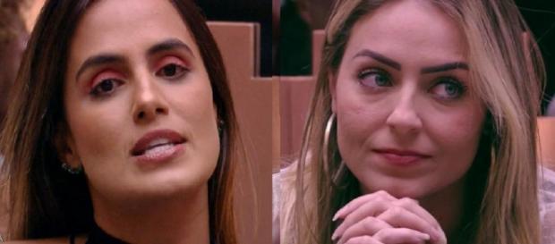 Paula e Carol no último paredão do 'BBB19'. (Reprodução/TV Globo)