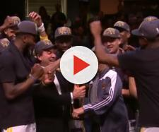 The Warriors celebrating their championship win in 2018. [image source: ESPN- YouTube]