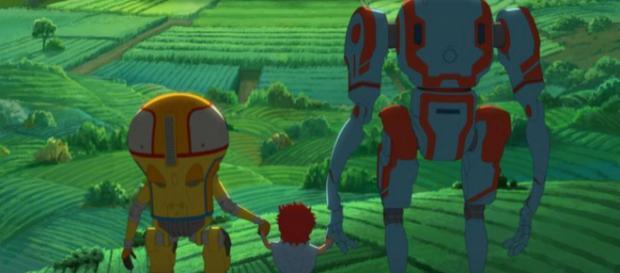 Eden: Zwei Roboter ziehen ein menschliches Kind groß. - Netflix