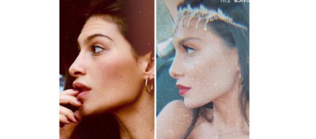La foto del presunto 'prima' e 'dopo' di Ludovica Valli: secondo i fan si sarebbe rifatta il naso.