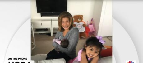Hoda Kotb is a new mother again and Haley Joy is a happy big sister, being congratulated from their Today family. [Image source: TODAY-YouTube]