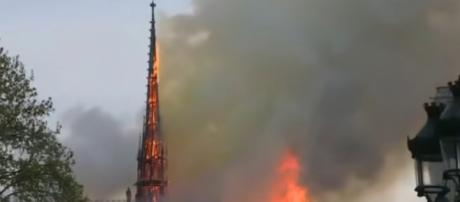 Notre Dame Cathedral suffers extensive damage in massive blaze. [Image source/CBS Evening News YouTube video]