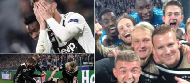 Cristiano Ronaldo disperato, mentre i giovani calciatori dell'Ajax esultano