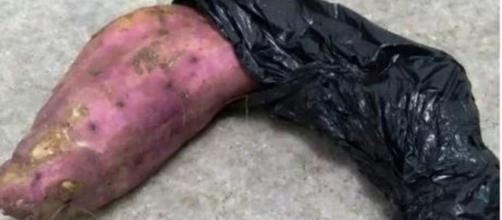 Homem tenta assaltar mulher com batata doce. (Reprodução/ TNH1)