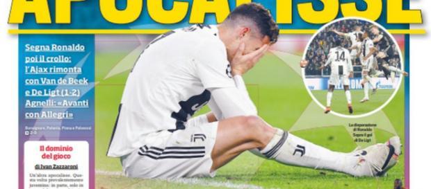 AjaxCristiano Ronaldo caiu na junto com a Juventus na Liga dos Campeões. (Reprodução/Twitter/@corsport)