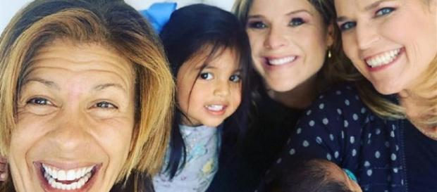Hoda Kotb, new baby Hope, and Haley Joy welcome Today family visit and a greeiing from KLG. [Image source-Instagram]