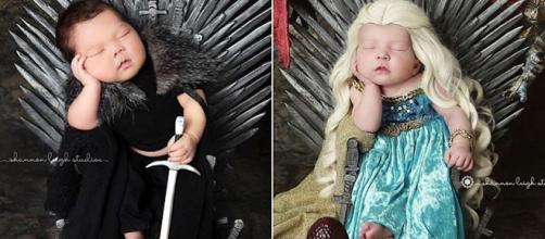 Bebês foram vestidos de Jon Show e Daenerys. (Reprodução/Instagram/@shannonleighstudios)