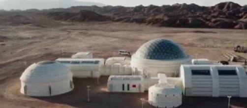 View of China's Mars Education Base in Gobi Desert. [Image source/PigMine7 YouTube video]