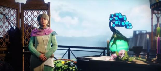 Destiny 2's Eva Levante alongside the Reveler's Tonic. [Image source: WeePow161/YouTube]