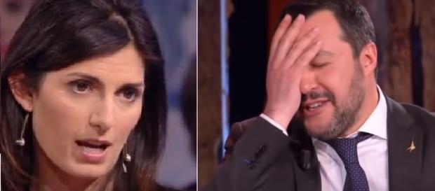 Virginia Raggi polemica con Matteo Salvini.