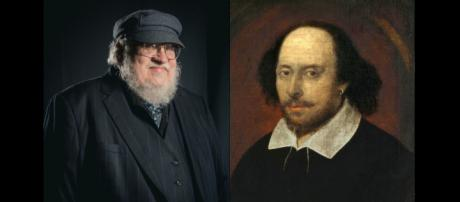 Los escritores George R.R. Martin y William Shakespeare