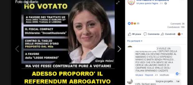 """Giorgia Meloni attaccata dal M5S sui social: """"votò il fiscal compact"""""""