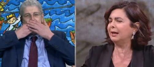 Mario Giordano e Laura Boldrini si beccano in tv