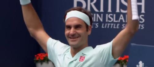 Roger Federer celebrates his triumph in Miami. [Photo: screencap via Tennis TV/YouTube]