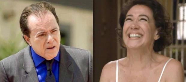 Olavo e Valentina, rivais na novela da Globo. (Reprodução/ TV Globo)