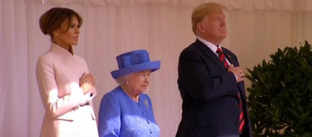 President Trump meets Britain's queen. [Image source/Washington Post YouTube video]