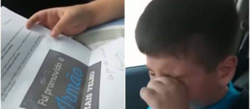 Criança se emociona ao receber notícia da mãe. (Reprodução/ Youtube)