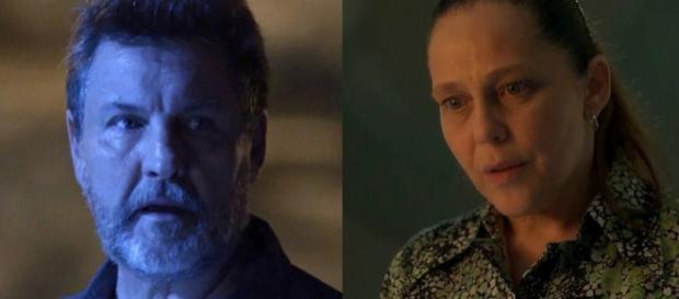 Egidio e Judith em 'O Sétimo Guardião'. (Reprodução/Rede Globo)