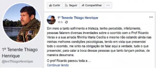 Homem desabafa sobre o caso de homem que esqueceu a filha no carro. (Reprodução/ Facebook/@tenThiagoHenrique)