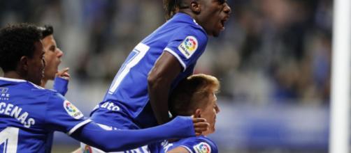 Celebración del gol de Ibra en el Carlos Tartiere. Fotografía: Real Oviedo