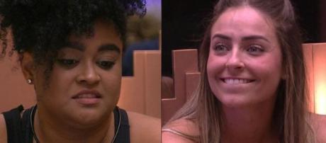 Paula e Rizia no Paredão do BBB19. (Reprodução/Rede Globo)
