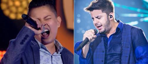 Cantor mirim se emocionou ao citar o sertanejo. (Divulgação/Rede Globo - The Voice Kids / Divulgação/ DVD Cristiano Araújo)
