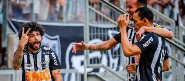 Luan comemora um dos gols do Atlético. (Divulgação/Bruno Cantini/Atlético-MG)
