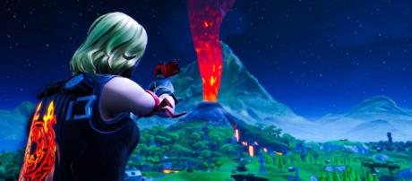 Fortnite's volcano is starting to erupt. [Image source: In-game screenshot]