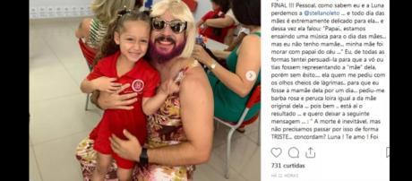 Luna disse que seu pai ficou 'meio lindo' vestido de mamãe. (Reprodução/Instagram/@danielcorrea69)