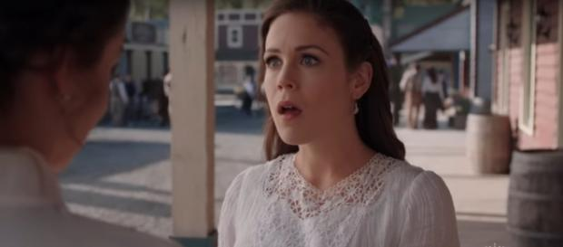 Elizabeth (Erin Krakow) doesn't hide her surprise over how an oil strike affects life on 'When Calls the Heart.' - [Hallmark / YouTube screencap]