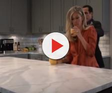 Carly drinking orange juice. - [General Hospital / YouTube screencap]