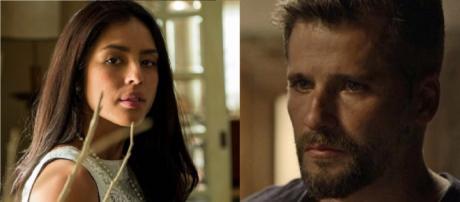 Laura e Gabriel em 'O Sétimo Guardião'. (Reprodução/TV Globo)