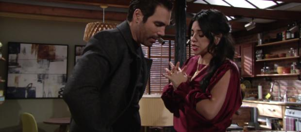 The Young and the Restless: Mia and Rey face to face. [Image Source: YR /YouTube]