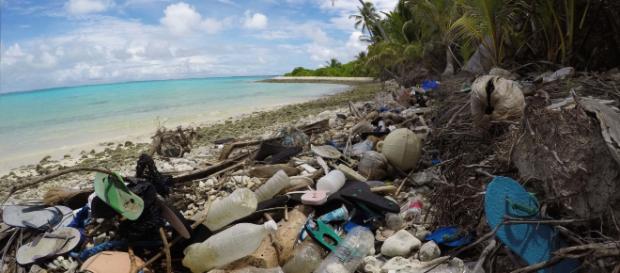 1 million plastic flip flops washes up on Cocos Island, in Indian Ocean. [Image credit: Silke Stuckenbrock]