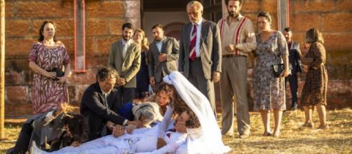 Amadeu é baleado pela irmã em seu casamento. (Divulgação/ TV Globo)