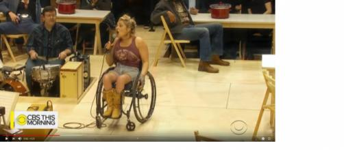 Ali Stroker made history with her Tony nomination this week, becoming the first nominee actress on wheels. [Image source: CBSThisMorning-YouTube]