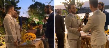 Casal oficializou a união na presença de amigos famosos. (Reprodução/Instagram/@carlinhosmaiaof)
